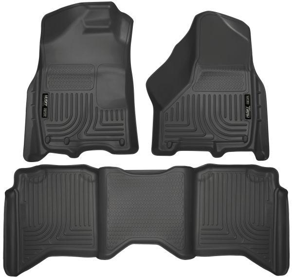 Pack of 2 Black Husky Liners Custom Fit Front Mudguard for Select Dodge Models