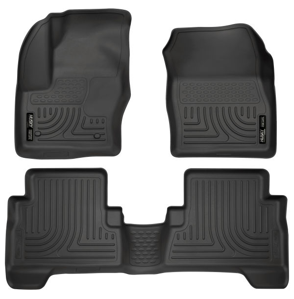 Husky Liners Custom Fit WeatherBeater Front and Second Seat Floor Liner Set for Select Ford Models Black