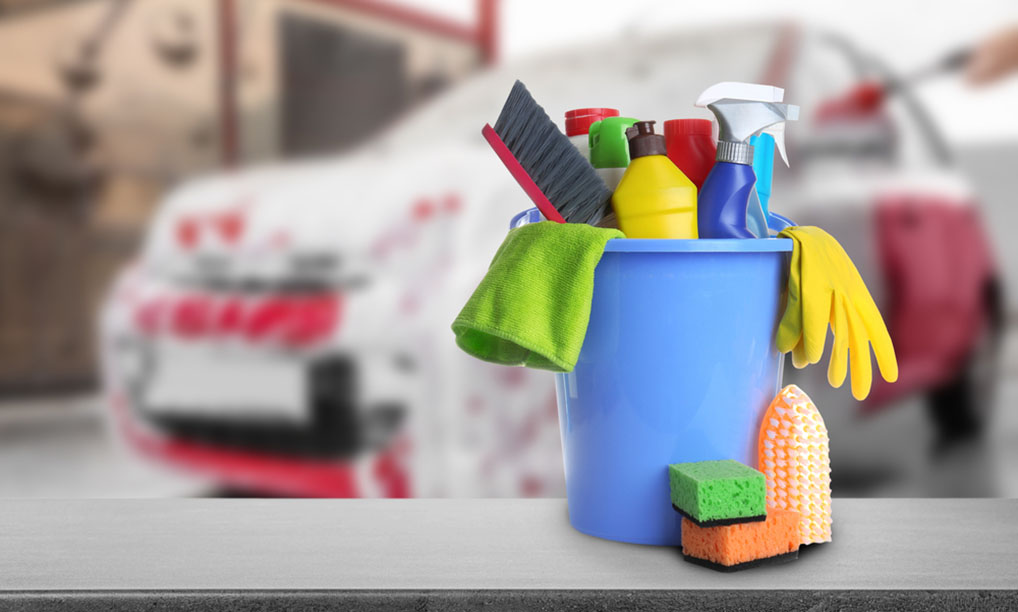 car cleaning supplies in bucket